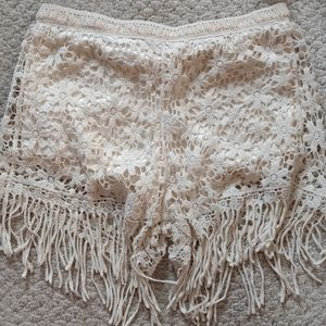 LOVE TREE sexy lace shorts with fringe M